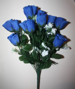 18 head ROYAL BLUE rose bud artificial flower weddings graves home decs