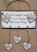 Our Family Plaque Wooden Hearts Personalised hanging Hearts Love Beautiful Gift