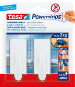 tesa 58045 Powerstrips Large Hooks, White, Rectangle, Self Adhesive and Removable
