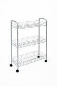 Metaltex 938001039 Multi-Purpose Rolling Shelf Unit 3 Shelves Slim Silver