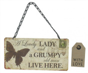 'A Lovely Lady And A Grumpy Old Man Live Here' Plaque (G744) Ideal Gift By Gifts For The Present