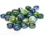 Glass Mosaic Tile Drops Greens Optic Drops