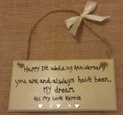 HAPPY 1ST WEDDING ANNIVERSARY PERSONALISED HEART HUSBAND WIFE 1ST 30TH 50TH