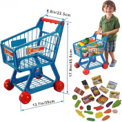 FunkyBuys® Blue Kids Children Boys/Girls Supermarket Shopping Trolley (SI-TY1015) Cart w/ Fruits & Vegetables
