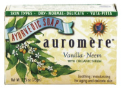 Vanilla with Organic Neem - Handmade Herbal Soap (Aromatherapy) with 100% Pure Essential Oils - ALL Natural - Each 80mls - Pack of 6 (470mls)- Auromere
