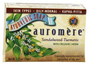 Sandalwood Soap (Sandalwood Oil Bar Soap) with Turmeric Extracts - Handmade Herbal Soap (Aromatherapy) with 100% Pure Essential Oils - ALL Natural - Each 80mls - Pack of 6 (470mls)- Auromere