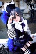 Mzcurse Kuroshitsuji Black Butler Ciel Phantomhive Short Black Grey Mix Cosplay Hair wig