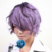 Mzcurse Ib Garry Purple Mix Brown Short Curly Cosplay Hair Wig