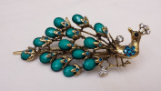 Gorgeous Vintage Jewellery Crystal Rhinestone Peacock Design Fashion Hair Clips Hair Pins Barrette Hair Clips - Large Size - Emerald Colour -For Hair Beauty Tools