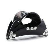 Black Hair Claw Jaw Pin Butterfly Clip Clear Rhinestones Hair Styling Accessories for Women Teens