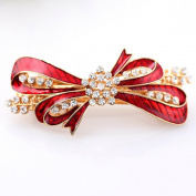 Beyend Red Women's Fashion Bowknot Hair Clip Head Wear BE-12