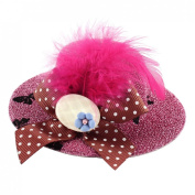 Lady Bowknot Feather Blue Flower Detail Glittery Top Hat Hairclip Pink