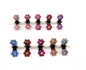 Cuhair(tm) 10pcs Crystal Rhinestone Assorted Bangs Mini Hair Claw Clip Hair Pin Flower Accessories for Girl Women Baby Mix Coloured