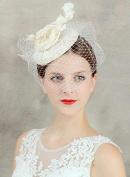 Noble Ivory Handmade Flowers Gauze Veil Face Concealed Banquet Headdress Hair Ornaments Bride Bridal Wedding Accessory Hair Head Wear Hat