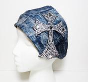 Bling Large Cross Denim Look Cotton Wide Headwrap Headband Patriotic