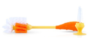 Nuby 2 in 1 Bottle and Nipple Cleaning Brush with Suction Base Orange/Yellow