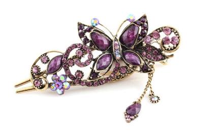 Beyend Purple Women's Vintage Crystal Butterfly Hair Clip Head Wear BE-03