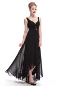 Hi-Lo Double V Neck Black Dress