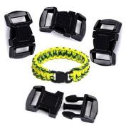 1cm BUCKLES PARACORD BRACELETS BLACK CURVED SIDE RELEASE CRAFTS 25 pack