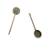 Price per 50 Pieces Antique Bronze Jewellery Making Charms Findings Supplies G5LC4 Hairpin Cabochon Settings Wholesale Ancient Fashion Bulk Retro Supply
