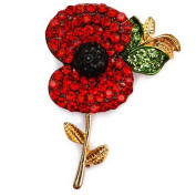 Voberry® JewelryGem A Stunning Bright Red Crystal Poppy Brooch With Elements