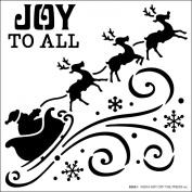 Hot Off The Press Stencils 15cm x 15cm -Flying Santa Silhouette