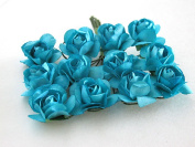 """CheckMineOut Deep Turquoise Bulk Mini Mulberry Paper Rose Wedding Flowers Scrapbooking DIY Craft Floral Supplies 0.5"""" (12mm) 144 Stems"""