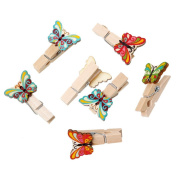 Godagoda Mixed Butterfly Shape Pattern Wood Clothespins for Game Favours Craft Pack of 50