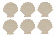 Sea Shell Cut Outs Unfinished Wood Mini Shells 6.4cm Inch 6 Pieces SHELL-06