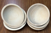 Set of 6 18cm Unfinished Solid Beech Wood Bowls