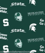 NCAA University of Michigan Spartans Team Licenced All Over Cotton Fabric