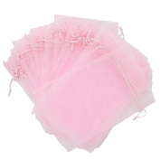 30 Designer Organza Fabric Gift Bags Pouches Party Gift Bags Pink 14cm By 23cm
