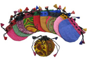 10-Pack Silk Sari Small Drawstring Pouch Bag in Warm Colours