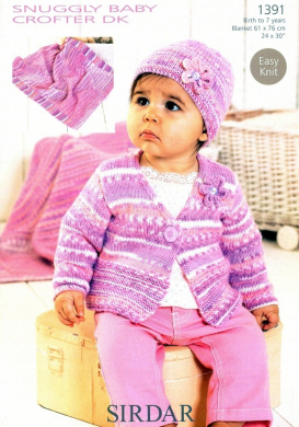 Sirdar Cardigan, Hat and Blanket Knitting Pattern Snuggly Baby Crofter DK 1391