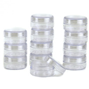 Paylak CNTB057-36 Storage Round Clear Container with Screw Lids For Small Items Organiser 3.8cm