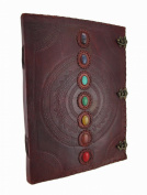 Giant Embossed Leather Bound Triple Clasp 7 Coloured Stones Journal