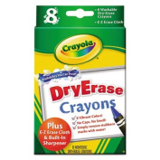 Washable Dry Erase Crayons w/E-Z Erase Cloth, Assorted Colours, 8/Pack, Sold as 8 Each