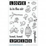 Your Next Stamp Clear Stamps 10cm x 15cm -Word Critters-Spring Birds
