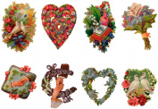 Stickers (8pics 6.4cm x 8.9cm each) Vintage Valentine Love Heart FLONZ Craft