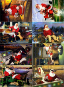 Stickers (8pics 6.4cm x 8.9cm ea) Vintage Christmas Santa Boat FLONZ Craft