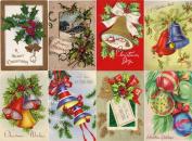 Stickers (8pics 6.4cm x 8.9cm each) Vintage Christmas Bells Decor FLONZ Craft