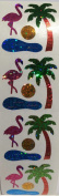 Flamingo & Palm Tree Glitter Stickers - 2 Sheets