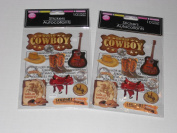 2 Packs Hand Made Dimensional Cowboy & Western Themed Stickers/Embellishments Bundle