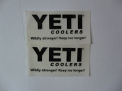 YETI coolers 6.4cm X1.13cm black on clear Vinyl decal weather proof 2 stickers