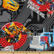 "1/2 Yard - ""Teletraan & Optimus Prime in Action"" Transformers on Black Fabric - Officially Licenced (Great for Quilting, Sewing, Craft Projects, Quilts, Throw Pillows & More) 1/2 Yard X 110cm Wide"