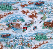 """1/2 Yard - """"New Fallen Snow"""" Christmas Santa & Sleigh Cotton Fabric (Great for Quilting, Sewing, Craft Projects, Quilts, Throw Pillows & More) 1/2 Yard X 110cm Wide"""