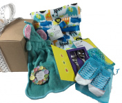 Baby Boy Gift - Blanket, Hand Towel, Silverware, Socks, Teether, Picture Frame