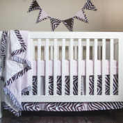Pam Grace Creations Four Piece Crib Set, Simply Zebra/Brown/Pink, 8 Count