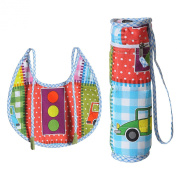 Digitally printed 300 TC Cotton Quilted Bib And Bottle Cover Set For Infant Kids-Car