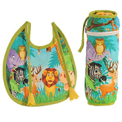 Digitally printed 300 TC Cotton Quilted Bib And Bottle Cover Set For Infant Kids-Jungle Animal